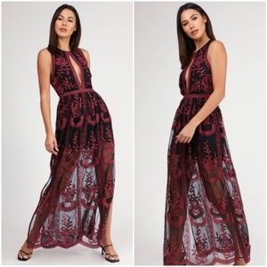 Honey Punch Embroidered Lace Maxi Dress Small